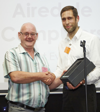 Keith from Airedale Computers is presented one of the first ever ShopTalk National IT Reseller Awards by Senior Account Manager, Tim Eley.